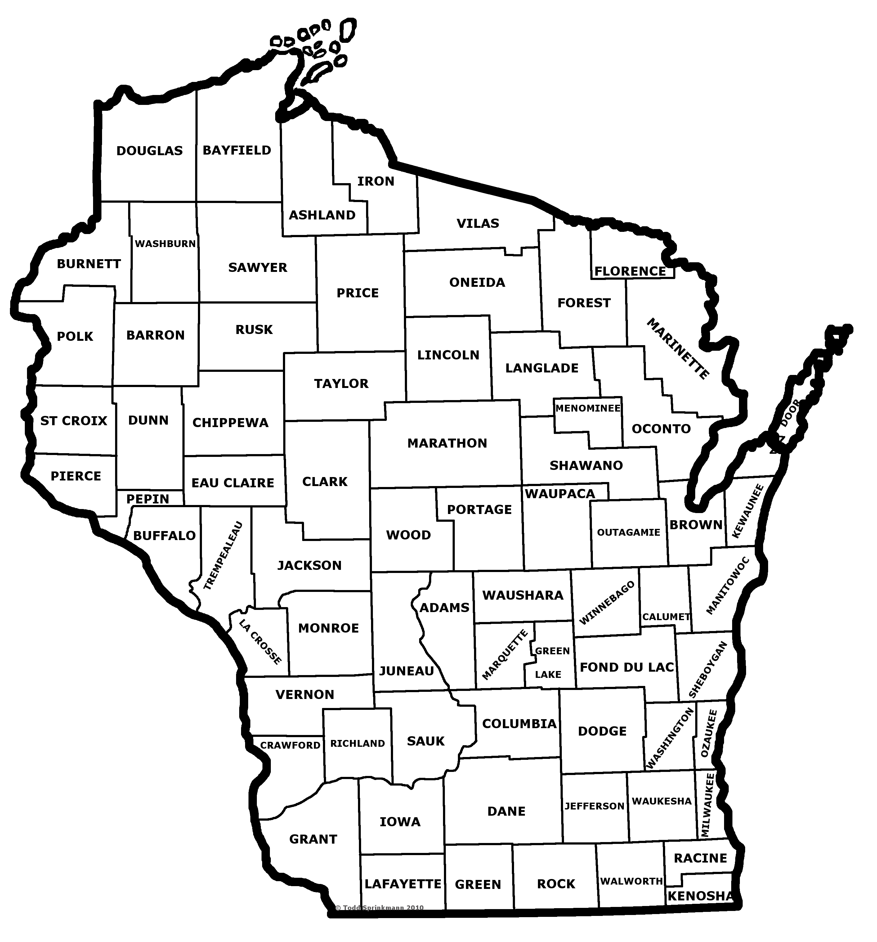 WIVUCH Maps And Forms - Wisconsin counties map